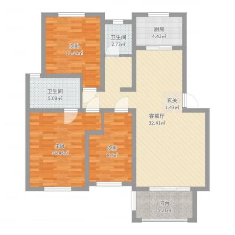 临湖社区3室2厅2卫1厨105.00㎡户型图