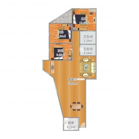 锦海大厦3室2厅2卫1厨143.00㎡户型图