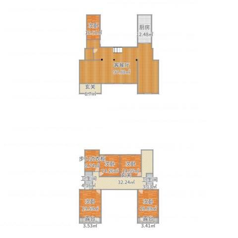 信益市花园小区5室2厅2卫1厨318.00㎡户型图