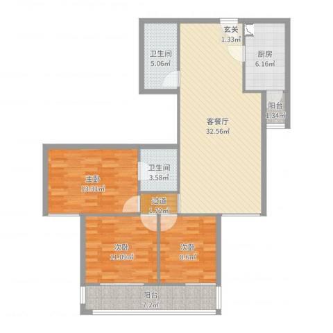 西黄新村北里3室2厅2卫1厨113.00㎡户型图