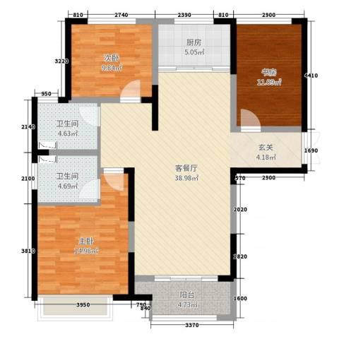 7星首府3室2厅2卫1厨117.00㎡户型图