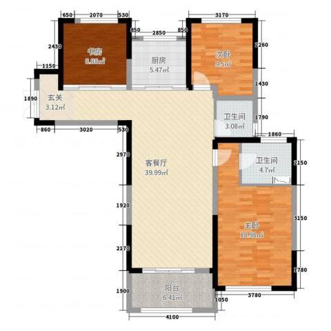7星首府3室2厅2卫1厨121.00㎡户型图