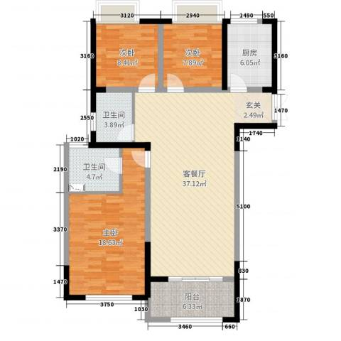 7星首府3室2厅2卫1厨116.00㎡户型图