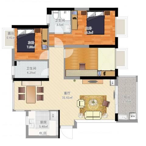九江曼城1室1厅2卫1厨104.00㎡户型图