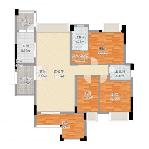东湖花园七区4室2厅2卫1厨132.00㎡户型图