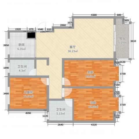 世纪尊园3室1厅2卫1厨126.00㎡户型图