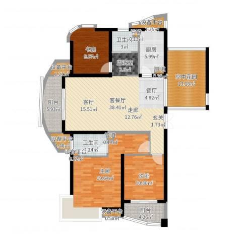 绍兴天下3室2厅2卫1厨151.00㎡户型图