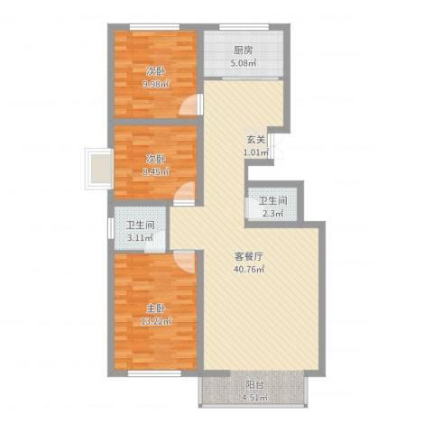 馨康家园3室2厅2卫1厨104.00㎡户型图