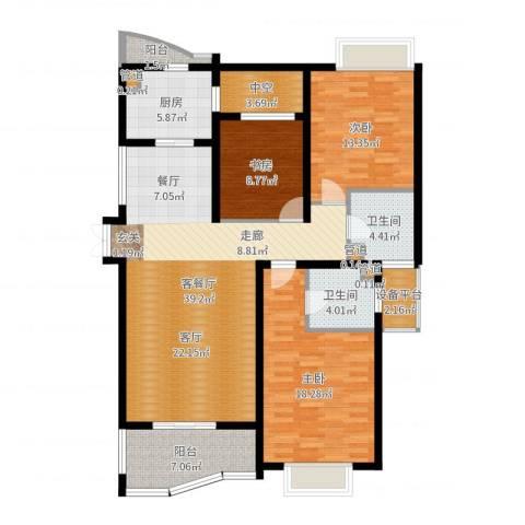 绍兴天下3室2厅2卫1厨136.00㎡户型图