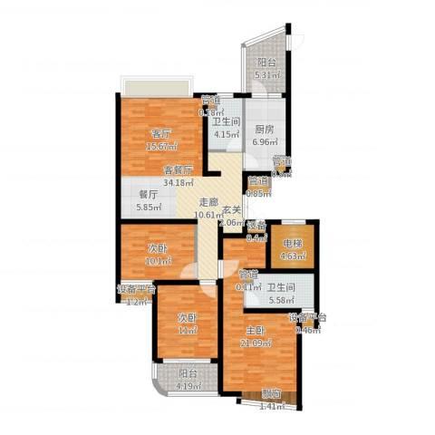 绍兴天下3室2厅2卫1厨138.00㎡户型图