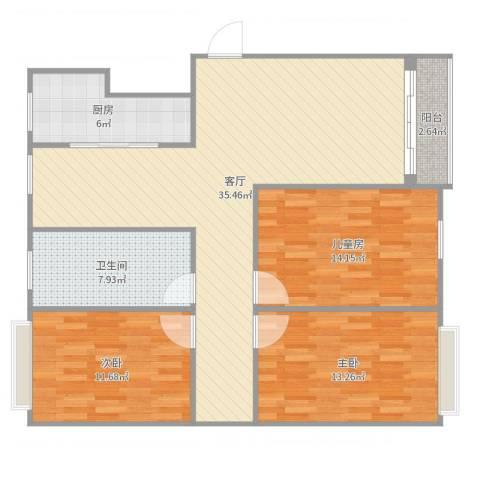 世纪锦都小区3室1厅1卫1厨114.00㎡户型图