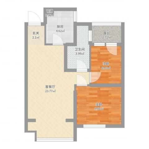 浑河湾2室2厅1卫1厨63.00㎡户型图