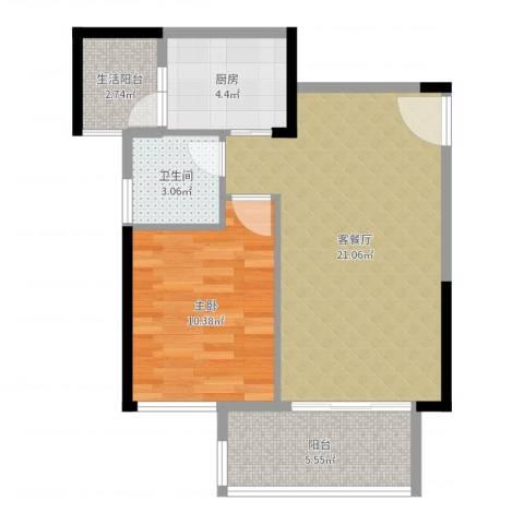 奥园金域1室2厅1卫1厨59.00㎡户型图