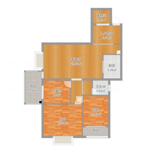 金河铭庄3室2厅1卫1厨123.00㎡户型图