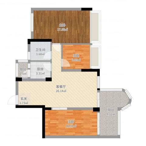 骏景华庭3室2厅1卫1厨100.00㎡户型图