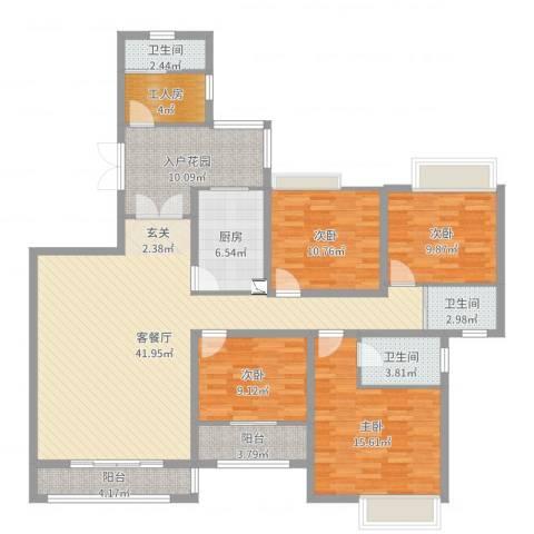 万佳裕园4室2厅3卫1厨156.00㎡户型图