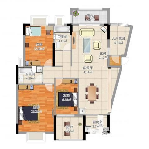 山水芳邻3室2厅2卫1厨139.00㎡户型图