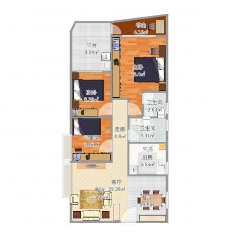 钰海名门4室1厅2卫1厨110.00㎡户型图