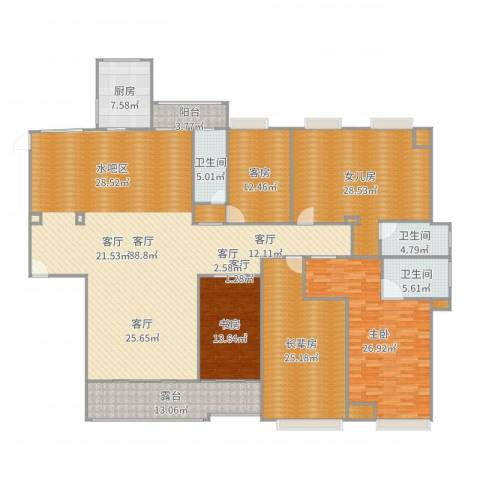 盈拓御江2室1厅3卫1厨298.00㎡户型图