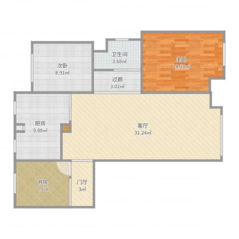 三盛颐景园3室1厅1卫1厨102.00㎡户型图