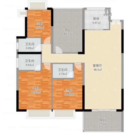 松山湖鹭栖湖3室2厅3卫1厨165.00㎡户型图