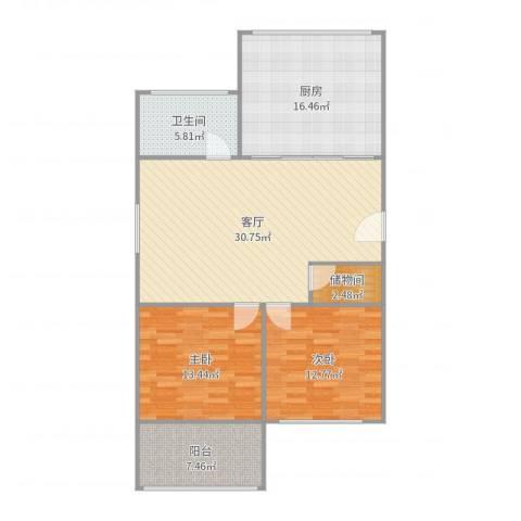 塔城路850弄小区2室1厅1卫1厨111.00㎡户型图