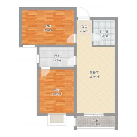 世纪花苑2室2厅1卫1厨77.00㎡户型图