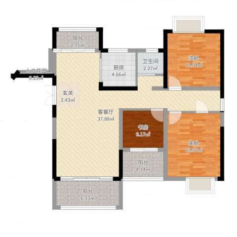 诺贝尔花园3室2厅1卫1厨112.00㎡户型图