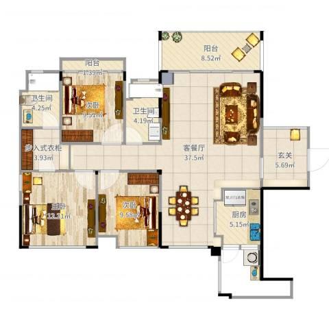 品湖居3室2厅2卫1厨127.00㎡户型图