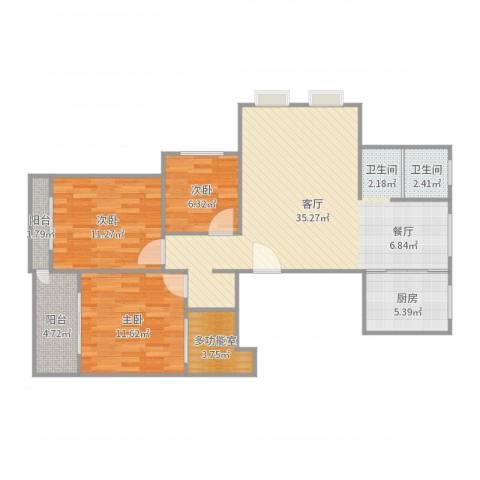 金湾锦苑3室1厅1卫1厨103.00㎡户型图