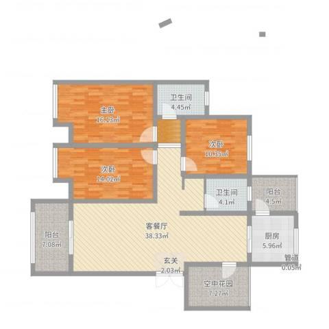 天逸双水湾3室2厅2卫1厨142.00㎡户型图