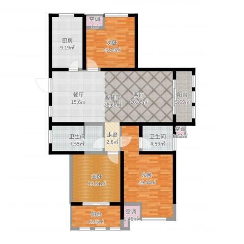 中天锦庭3室2厅2卫1厨150.00㎡户型图