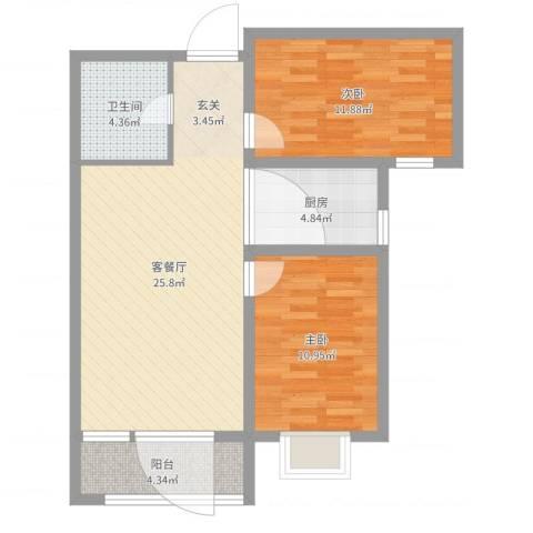 美域新城2室2厅1卫1厨78.00㎡户型图