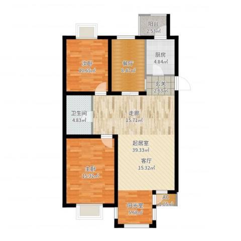 第六大道第博雅园2室1厅1卫1厨109.00㎡户型图