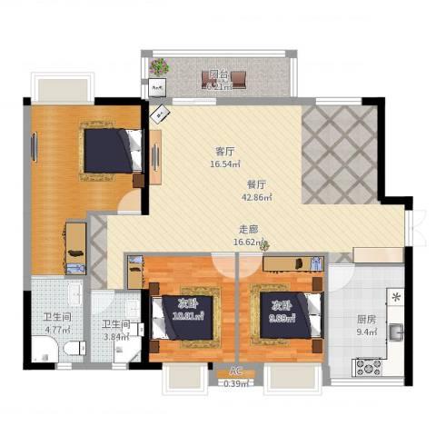 港湾江城2室1厅2卫1厨131.00㎡户型图