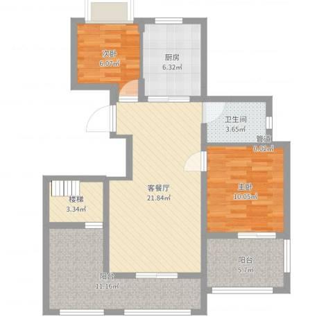 万科金色半山2室2厅1卫1厨85.00㎡户型图