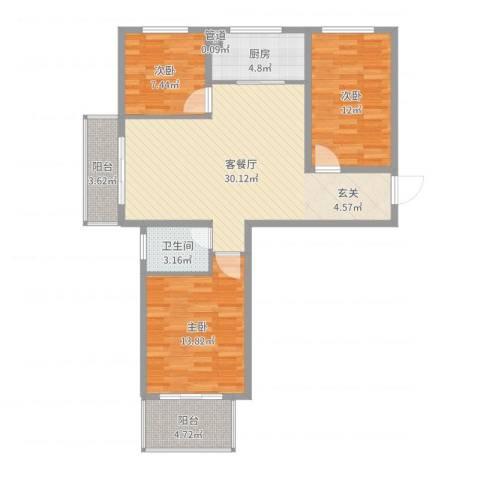 教授花园二期3室2厅1卫1厨100.00㎡户型图