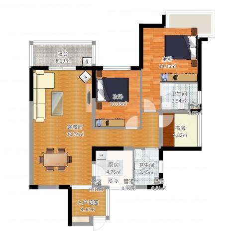 世家城南一号3室2厅2卫1厨105.00㎡户型图