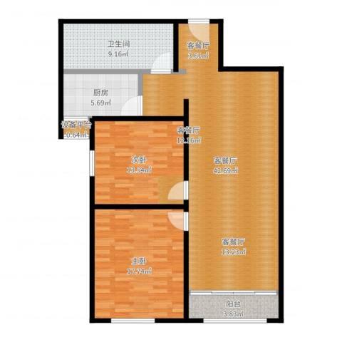 依水现代城2室2厅1卫1厨117.00㎡户型图