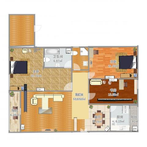碧玉豪庭2室1厅1卫1厨185.00㎡户型图