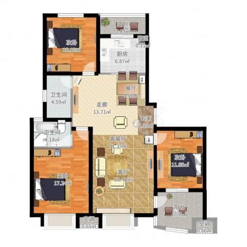 清流水韵3室2厅2卫1厨137.00㎡户型图