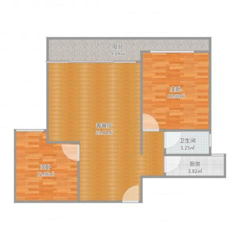 筼筜书院2号3022室2厅1卫1厨86.00㎡户型图