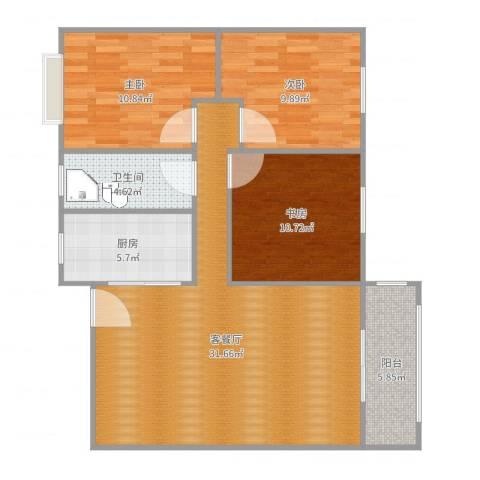 华龙太乙城3室2厅1卫1厨98.00㎡户型图