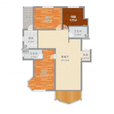 荣耀天地3室2厅2卫1厨106.00㎡户型图