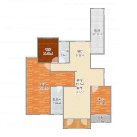 高新城市广场3室1厅2卫1厨164.00㎡户型图