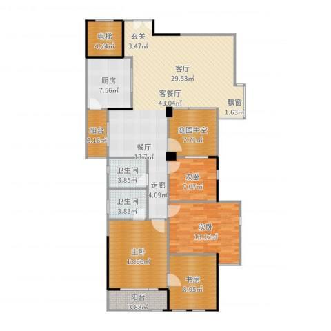 万科蓝山4室2厅2卫1厨150.00㎡户型图