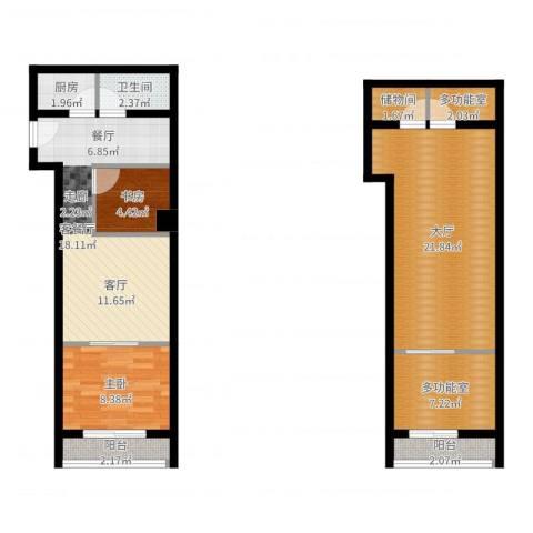 底特律财富天地2室2厅1卫1厨90.00㎡户型图