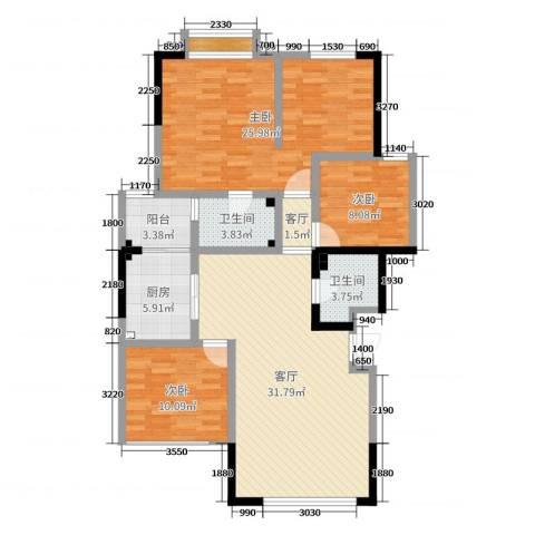 竹韵山庄3室2厅2卫1厨119.00㎡户型图