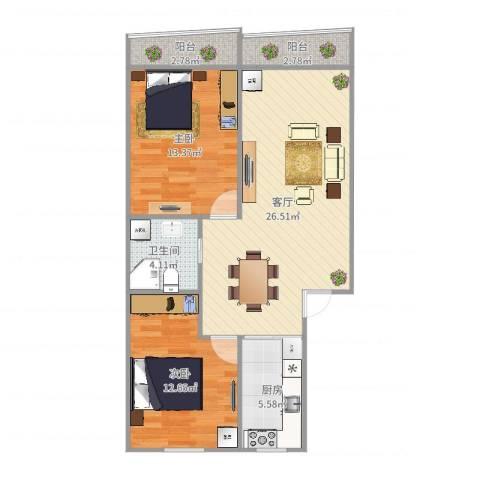 岚皋西路45弄小区2室1厅1卫1厨85.00㎡户型图