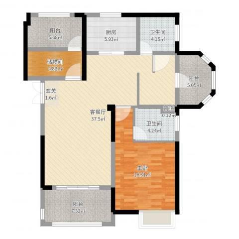 优山美地1室2厅2卫1厨114.00㎡户型图